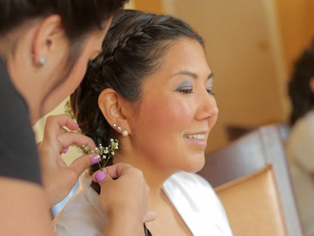 Bride Hair With Braids and Babies Breath
